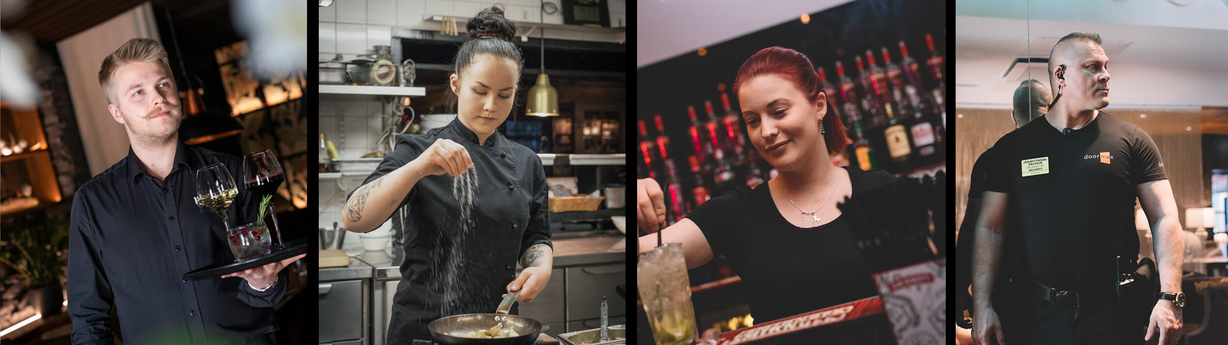 Staffmax ravintola-alan palvelut, työntekijät: tarjoilija. kokki, baarimikko, henkivartija